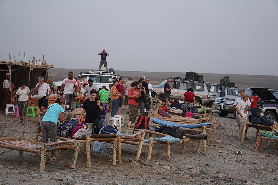 Group of tourists at the campsite in Danakil