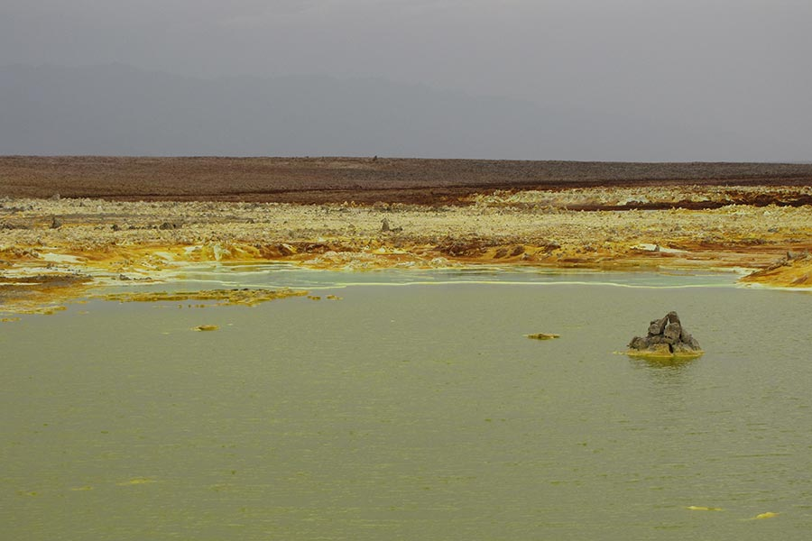 Landscape of Dallol, the lowest part of the Danakil Depression