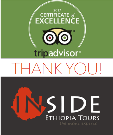 Certificate of Excellence 2017 to Inside Ethiopia Tours