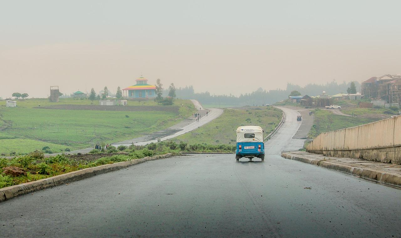 Tuk tuk in a road in Ethiopia