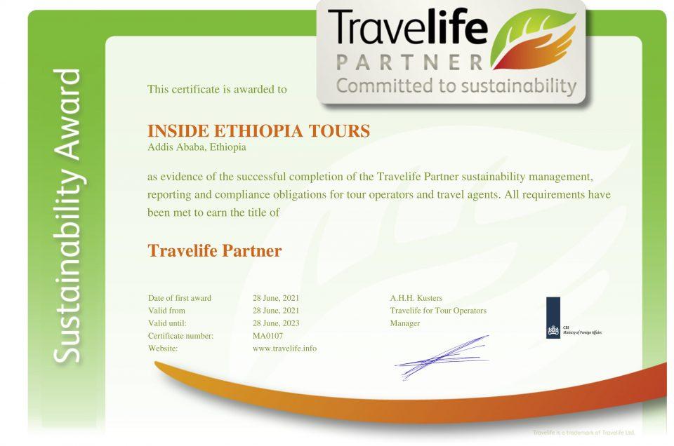 Inside Ethiopia Tours Travelife Certificate